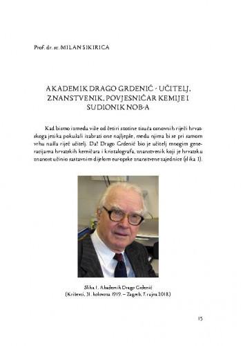 Akademik Drago Grdenić - učitelj, znanstvenik, povjesničar kemije i sudionik NOB-a / Milan Sikirica