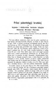 Prilozi paleontologiji hrvatskoj ili kopnene i slatkovodne terciarne izkopine Dalmacije, Hrvatske i Slavonije / S. Brusina