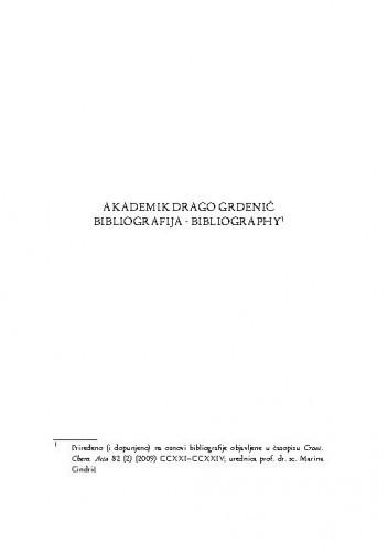 Akademik Drago Grdenić : bibliografija ; bibliography / Marina Cindrić
