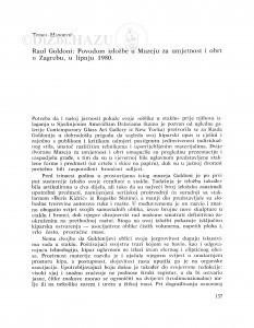 Raul Goldoni : povodom izložbe u Muzeju za umjetnost i obrt u Zagrebu u lipnju 1980. / Tonko Maroević