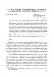 Pravno uređenje zakupa broda u talijanskom, francuskom, engleskom i američkom pravu / Marija Pijaca