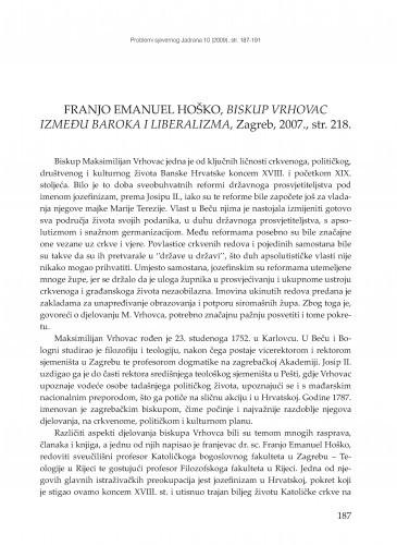 Franjo Emanuel Hoško, Biskup Vrhovac između baroka i liberalizma, Zagreb, 2007 : [prikaz] / Maja Poliić