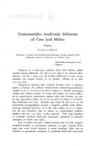 Goniometrijsko istraživanje dekloazita od Črne kod Mežica / Lj. Barić