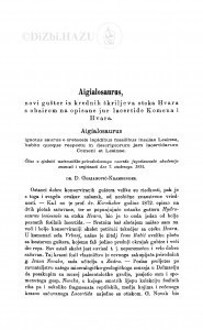 Aigialosaurus, novi gušter iz krednih škriljeva otoka Hvara s obzirom na opisane jur lacertide Komena i Hvara / D. Gorjanović-Kramberger