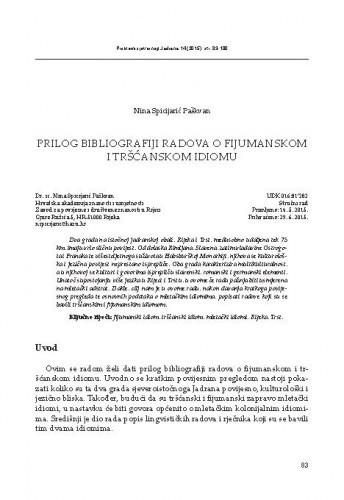 Prilog bibliografiji radova o fijumanskom i tršćanskom idiomu / Nina Spicijarić Paškvan