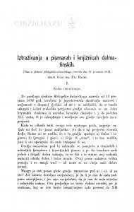Iztraživanja u pismarah i knjižnicah dalmatinskih / F. Rački