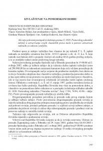 Izvlaštenje na pomorskom dobru (Vrhovni sud Republike Hrvatske, rješenje broj: Rev 887/04-2 od 10. 11. 2004.) / Vesna Skorupan Wolff