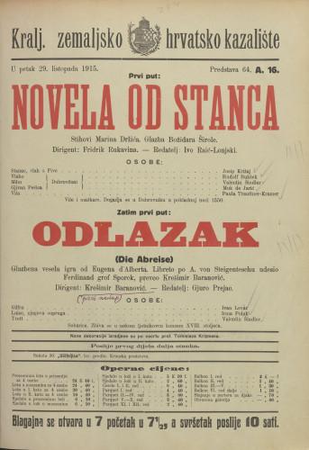 Novela od Stanca Glazbena vesela igra  =  Die Abreise