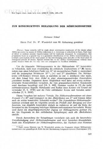 Zur konstruktiven Behandlung der Möbiusgeometrie / H. Schaal