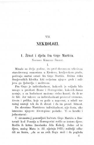 Život i djela fra Grge Martića : [Nekrolog.] / K. Šegvić