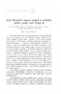 Josip Keresturi i njegovi pogledi na političke prilike poslije smrti Josipa II. / Tomo Matić