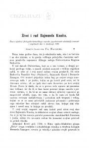 Život i rad Rajmunda Kunića / F. Maixner