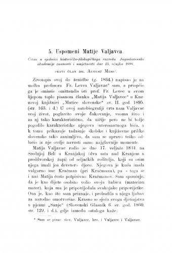 Uspomeni Matije Valjavca : [nekrolog.] / A. Musić