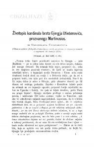 Životopis kardinala brata Gjorgja Utiešenovića, prozvanoga Martinusius : (ostatak) / O. Utješenović