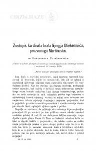 Životopis kardinala brata Gjorgja Utiešenovića, prozvanoga Martinusius / O. Utješenović