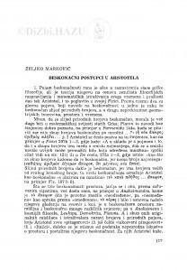 Beskonačni postupci u Aristotela / Ž. Marković