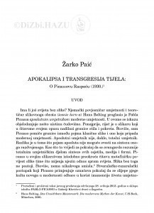 Apokalipsa i transgresija tijela : o Picassovu Raspeću (1930.) / Žarko Paić