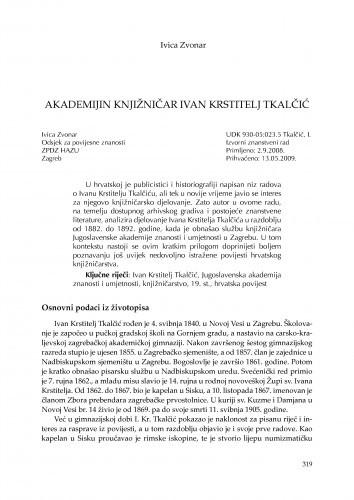 Akademijin knjižničar Ivan Krstitelj Tkalčić / Ivica Zvonar