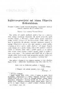 Književno-prosvjetni rad Adama Filipovića Heldentalskoga / V. Dukat