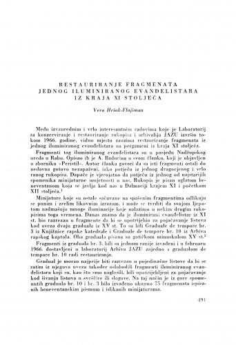 Restauriranje fragmenata jednog iluminiranog evanđelistara iz kraja XI stoljeća / V. Hršak-Flajšman