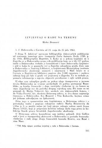 Izvještaj o radu na terenu / M. Deanović