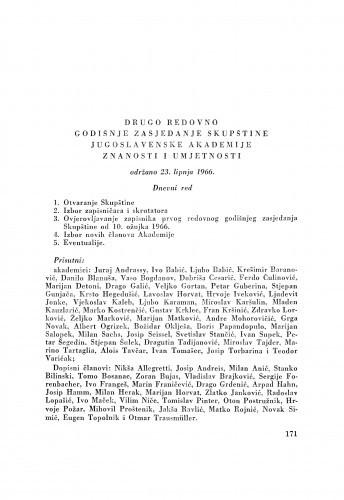 Drugo redovno godišnje zasjedanje Skupštine Jugoslavenske akademije znanosti i umjetnosti održano 23. lipnja 1966.