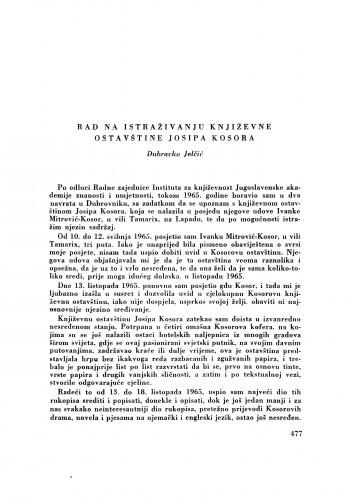 Rad na istraživanju književne ostavštine Josipa Kosora / D. Jelčić