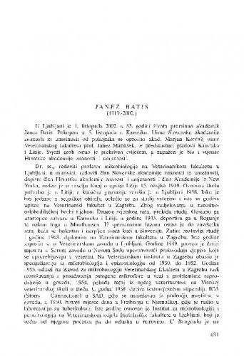 Janez Batis (1919.-2002.) : [in memoriam] / Janez Brglez