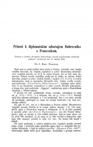Prinosi k diplomatskim odnošajem Dubrovnika s Francezkom / Ivan Krstitelj Švrljuga