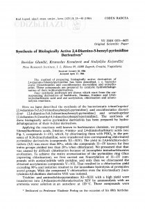 Synthesis of biologically active 2,4-diamino-5-benzyl-pyrimidine derivatives / B. Glunčić, K. Kovačević, N. Kujundžić