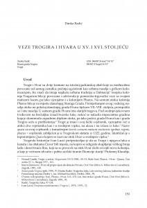Veze Trogira i Hvara u XV. i XVI. stoljeću / Danka Radić