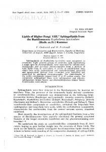 Lipids of higher fungi. VIII. Sphingolipids from the Basidiomycete Hypholoma fasciculare (Huds. ex Fr.) Kummer / V. Ondrušek, M. Proštenik