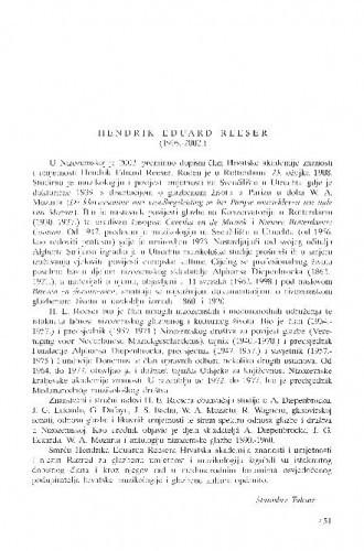 Hendrik Eduard Reeser (1908.-2002.) : [in memoriam] / Stanislav Tuksar