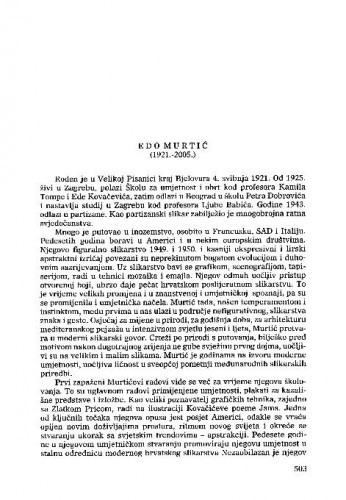 Edo Murtić (1921.-2005.) : [nekrolog] / Nikola Reiser