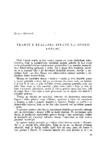 Tkanje i tkalačke sprave na otoku Lopudu / O. Oštrić