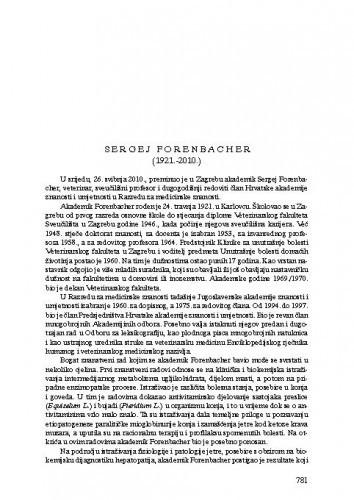 Sergej Forenbacher (1921.-2010.) : [nekrolog] / Slavko Cvetnić