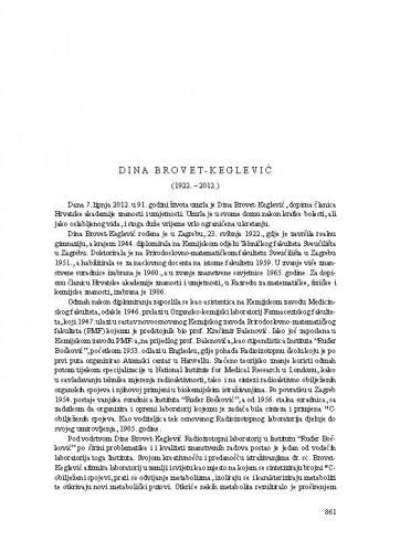 Dina Brovet-Keglević (1922.-2012.) : [nekrolog] / Vitomir Šunjić