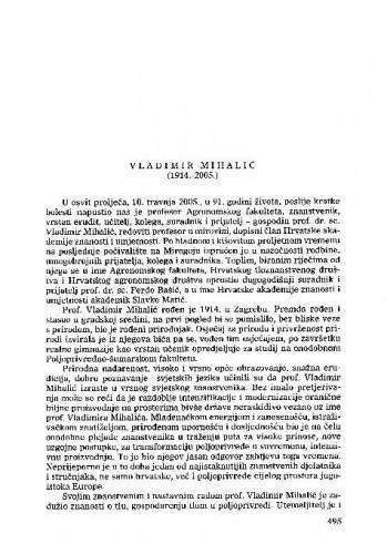 Vladimir Mihalić (1914.-2005.) : [nekrolog] / Ferdo Bašić