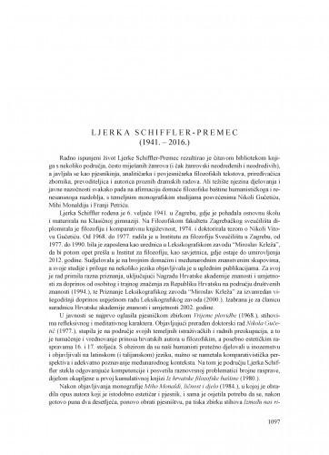 Ljerka Schiffler-Premec (1941.-2016.) : [nekrolog] / Tonko Maroević