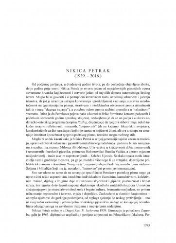 Nikica Petrak (1939.-2016.) : [nekrolog] / Tonko Maroević