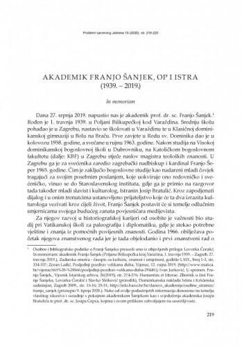 Akademik Franjo Šanjek, OP i Istra (1939. – 2019.) : In memoriam / Elvis Orbanić