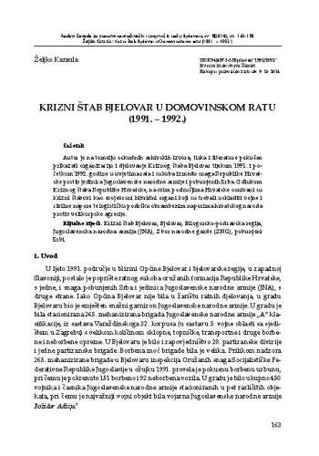 Krizni štab Bjelovar u Domovinskom ratu (1991. - 1992.)