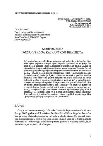 Morfologija podravskoga kajkavskog dijalekta / Jela Maresić