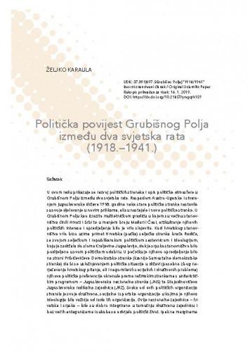 Politička povijest Grubišnog Polja između dva svjetska rata (1918.–1941.) / Željko Karaula