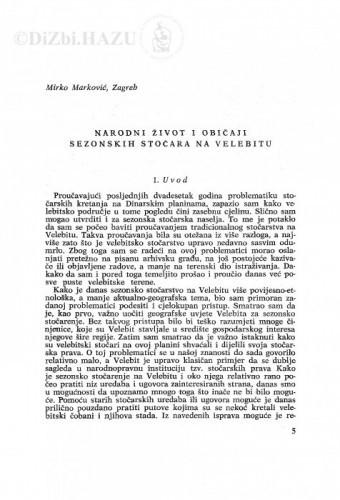 Narodni život i običaji sezonskih stočara na Velebitu / M. Marković