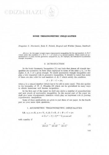 Some trigonometric inequalities / D. S. Mitrinović, J. Pečarić, W. Janous