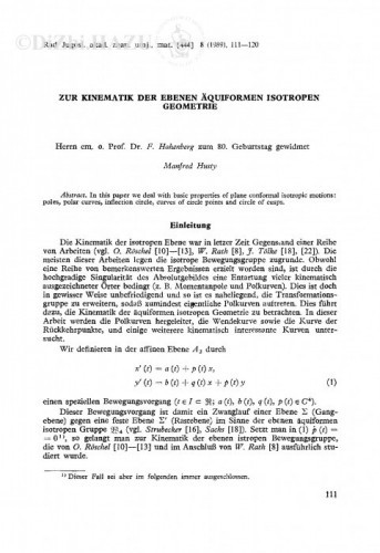 Zur Kinematik der ebenen Äquiformen isotroper Geometrie / M. L. Husty