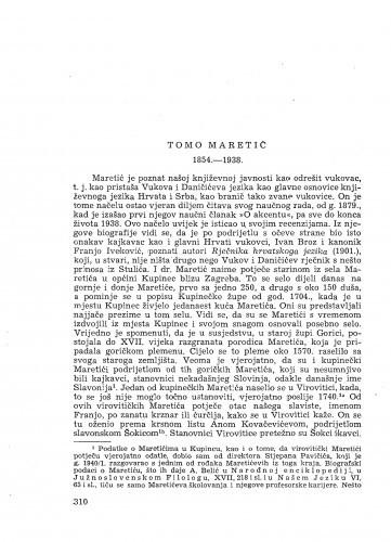 Tomo Maretić : 1854-1938. : [nekrolog] / P. Skok
