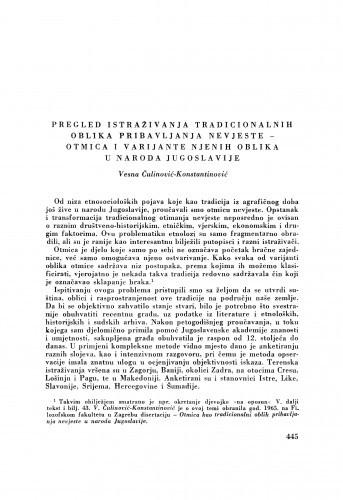 Pregled istraživanja tradicionalnih oblika pribavljanja nevjeste - otmica i varijante njenih oblika u naroda Jugoslavije / V. Čulinović-Konstantinović