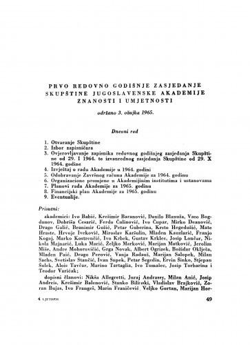 Prvo redovno godišnje zasjedanje Skupštine Jugoslavenske Akademije znanosti i umjetnosti održano 3. ožujka 1965.